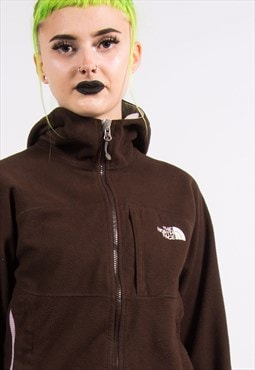 The North Face Vintage Brown Hooded Fleece Jacket