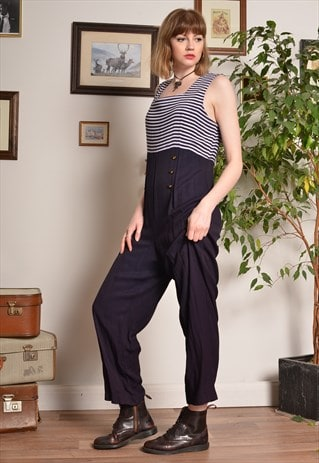 Vintage Nautical Style Jumpsuit in Navy Blue