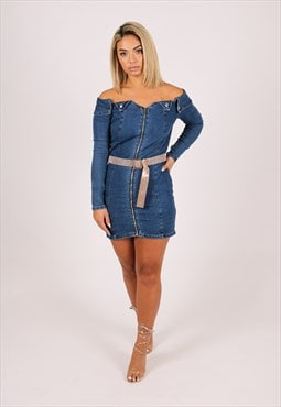 Anais Off the shoulder denim mini dress with diamante belt
