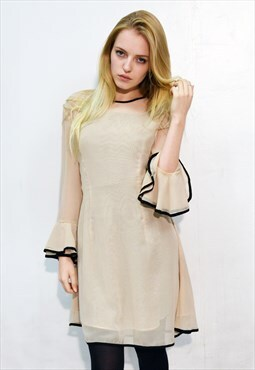 Frilled Sleeves Chiffon  Dress elegant weekend day out