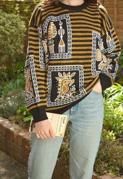 80s Vintage Black and Yellow Aztec Pattern Knit Jumper