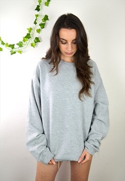 90s Vintage Minimal Light Grey Oversized Sweatshirt