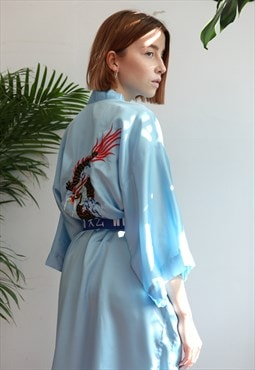 Vintage 90s Posh Satin Look Dragon Embroidery Kimono