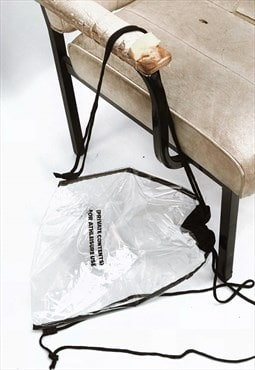 "Clear ""PRIVATE CONTENTS"" Slogan Drawstring Bag"