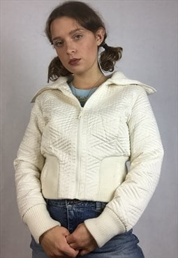 00s/y2k cream quilted zip up collared bomber jacket/ coat