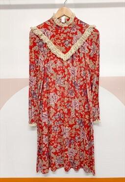 1970's Lace Smock Prairie Dress