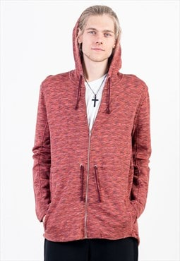Zipped Longline Hoodie in Multi Red with Side Pockets