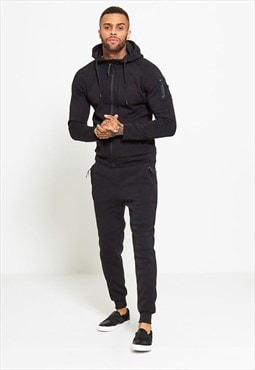 Mens Black Zip Through Hooded Tracksuit