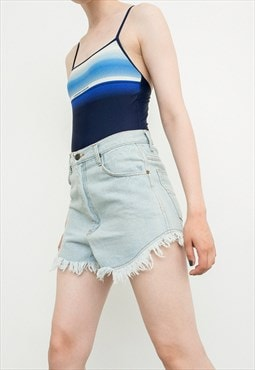 Vintage Fringe Shorts Light Blue Denim Mini 80s Crop Jeans