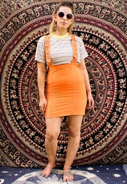 Vintage Fiorucci Orange Suspender Skirt Dress