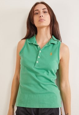 Vintage Ralph Lauren Sleeveless Polo Top Green