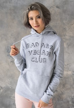 Bad Ass Vegan Club Hoodie Printed Womens Hooded Top Hoody