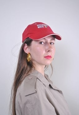 90s red baseball cap with parrot embroidery
