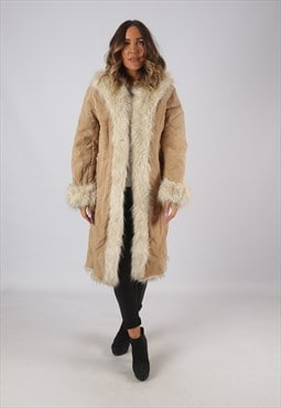 Suede Faux Sheepskin Faux Fur Coat Long Mid UK 10 (KDL)