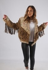 Vintage Suede Leather Tassel Fringe Jacket 80's 10 - 12 (G2R