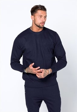 Staple Blank Plain Jumper Sweater - Navy Blue
