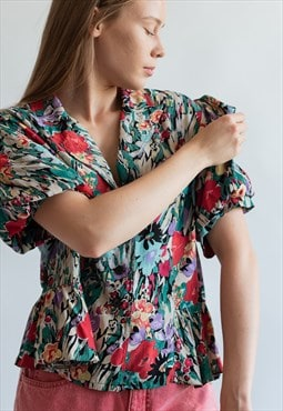 Vintage 60s floral blouse with puffy sleeves