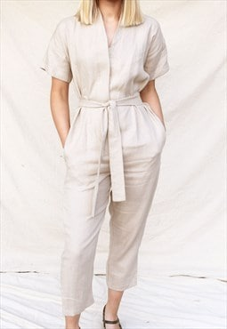 Kimono Short Sleeve Beige Linen Jumpsuit with V Neck and Tie