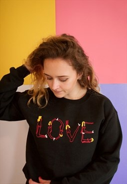 Naked Ladies Love Black Embroidered Sweatshirt Jumper