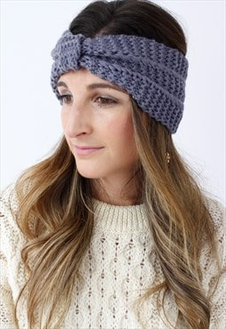 Grey Ribbed Knitted Turban Headband