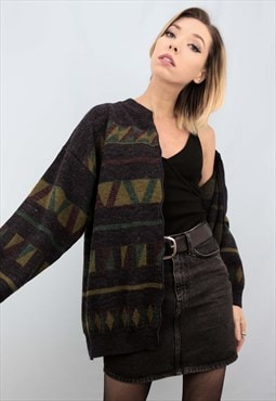 Vintage 80s 90s Oversized Patterned Knit Cardigan