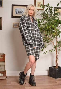 Vintage 90s Check Flannel Dress in Beige