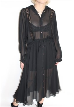 Black Sheer French Wear Dress