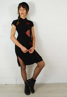 Vintage 90s Grunge Chinese Dragon Cocktail Mini Dress Black