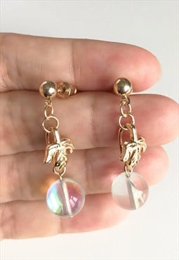 Clear stone with gold leaf stud earring