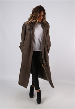 Sheepskin Suede Leather Shearling Long Coat UK 16 (A9BK)