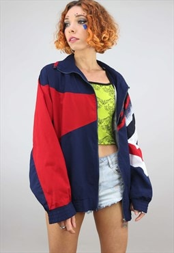 Vintage 80s 90s Oversized Festival Shell Windbreaker Jacket