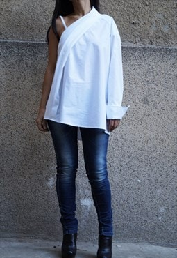 Oversized Shirt Off shoulder Top Loose White Blouse F1640