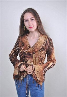 80s women brown ruffle abstract print blouse, Size S
