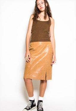 Vintage 90s Tan Snakeskin Pencil Skirt ID:8051