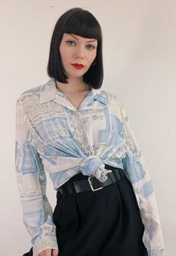 90s Vintage St Michael Baby Blue White Square Pattern Blouse
