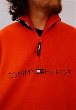 Vintage 90s Tommy Hilfiger quarter zip spellout fleece top