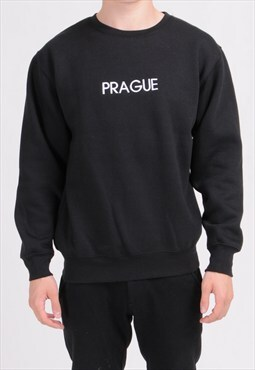 SALE - Black PRAGUE Sweatshirt - Embroidered