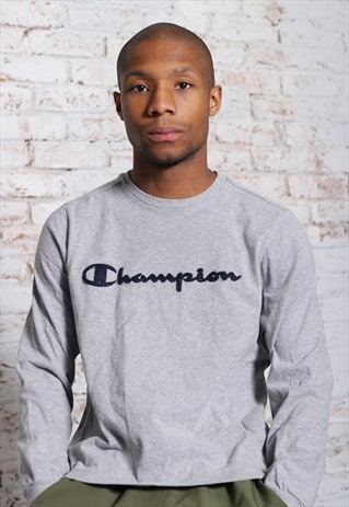 Vintage Champion Big Logo T-Shirt Grey