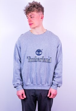 Vintage Timberland Spell Out Embroidery Sweatshirt in Grey