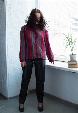 Vintage 70's Red Striped Glitter Thread Frill Collar Blouse
