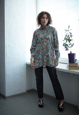 Vintage 80's Multicolour Patterned Long Sleeved Shirt