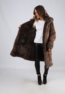 Sheepskin Suede Hooded Shearling Coat Mid Long UK 12 (LJ4J)