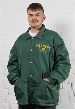 Vintage NFL Campri Varsity Jacket in Green w/ Logo - XL