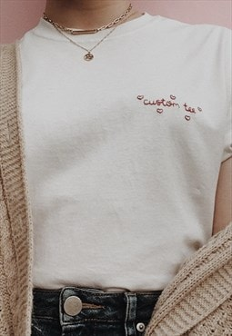 personalised valentine's day hand embroidered heart t-shirt