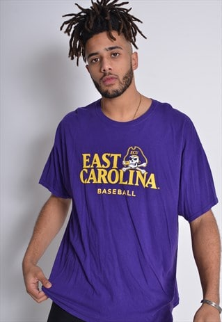Vintage East Carlina Baseball Graphic Print T-shirt Purple