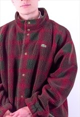 Vintage Lacoste Tartan Fleece Jacket in Red & Green