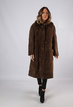 Sheepskin Suede Leather Shearling Coat UK 12 - 14  (KJ2V)