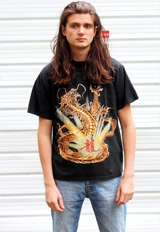 1990'S VINTAGE BLACK GRAPHIC CHINESE DRAGON PRINT T-SHIRT