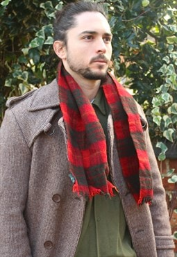 Vintage 90s Wool Tartan Scarf Made in Scotland Mod indie