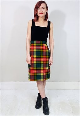 Vintage 90's Red, Green and Yellow Tartan Wool Pencil Skirt